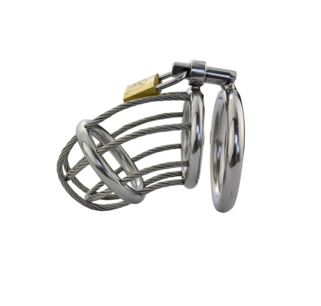Male Chastity Cage 3 size Locking Base Ring Stainless Steel Men Cock Restraint