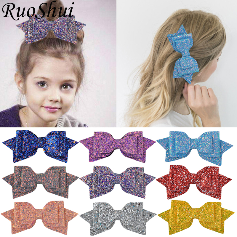 3 inch/3.75inch/5inch Women Baby Girl Glitter Hair Bows Kids Hairpins Hair Clip for Children Hair Accessories Toddler   Headwear
