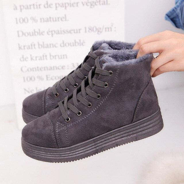 2fc125f0b Las mujeres de Invierno Botas de Nieve Plataforma Botines Mujeres del Ante  Caliente Casual Zapatos Femeninos