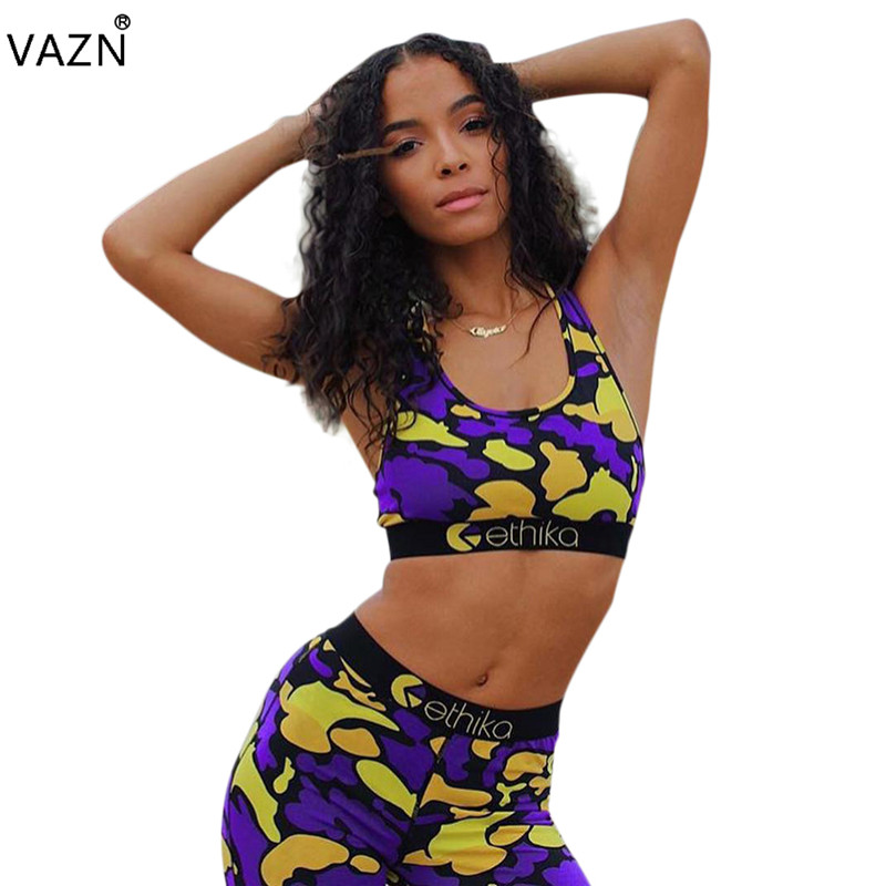VAZN Hot Sale 2019 Sexy Style 2 Piece Women Set Camouflage Tank Top Long Pants Hollow Out Tracksuits Age Reduction Set LSL6247
