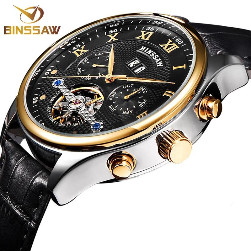 BINSSAW Men Brand Genuine Leather Tourbillon Watch Men Automatic Wristwatch Automatic Mechanical Sport Watches Relogio Masculino