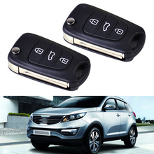 New 2pcs Uncut Blade 3 Buttons Flip Folding Remote FOB Key Shell Case for KIA Sportage Rio Rondo Hyundai i20 i30 i35 iX20 iX35