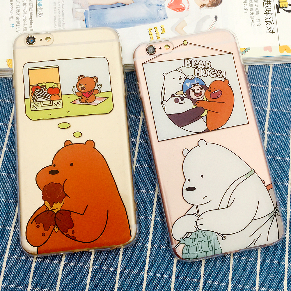 Phone Case For iPhone 6 6S 7Plus 3D Cartooe Design For We Bare Bear Soft TPU Mobile Phone Bag Cases Cover For iPhone 6 7 Plus