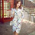 Original New 2016 Brand Casaco Feminino Slim Belt Waist Elegant Casual Long Floral Trench Coat  for Women Wholesale