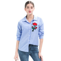 2017 Autumn New Women S Clothing Stripe Rose Embroidery Blouse Shirt