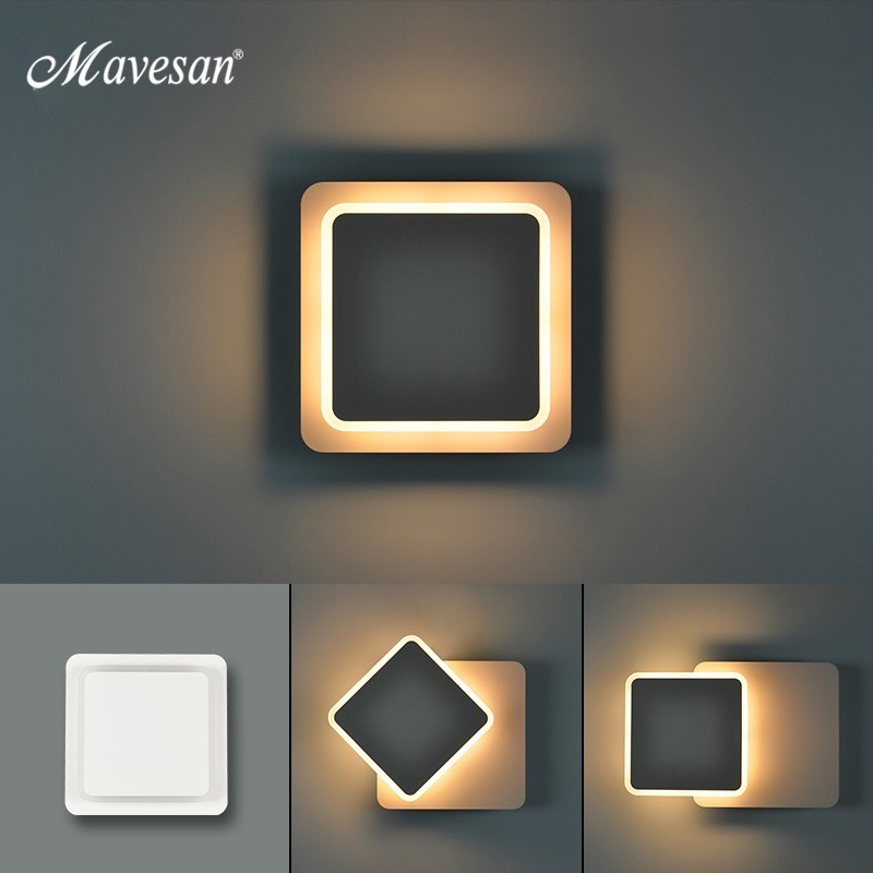 White black body Wall Lamps for Bedroom living room square  AC90 260V Indoor Led Wall Light Rotatable Plated Metal 5W/16W SconceLED Indoor Wall Lamps   -