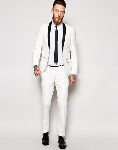 2018 Trendy White Tuxedo Suits with Black Shawl Lapel Wedding Groom ...