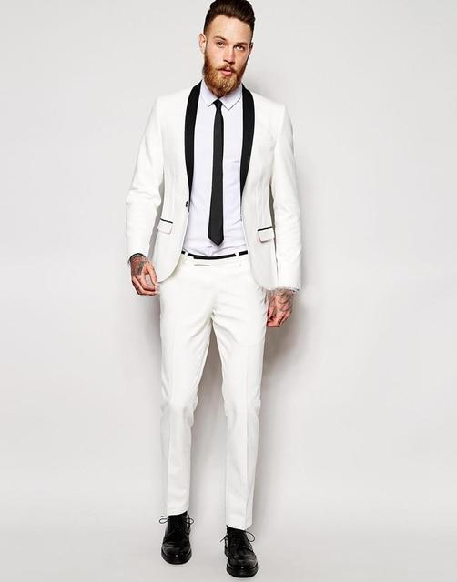 4ad7f3de7fc 2019 модный белый смокинг костюмы с черной шалью нагрудные свадебные костюмы  жениха индивидуальный заказ женихов костюмы
