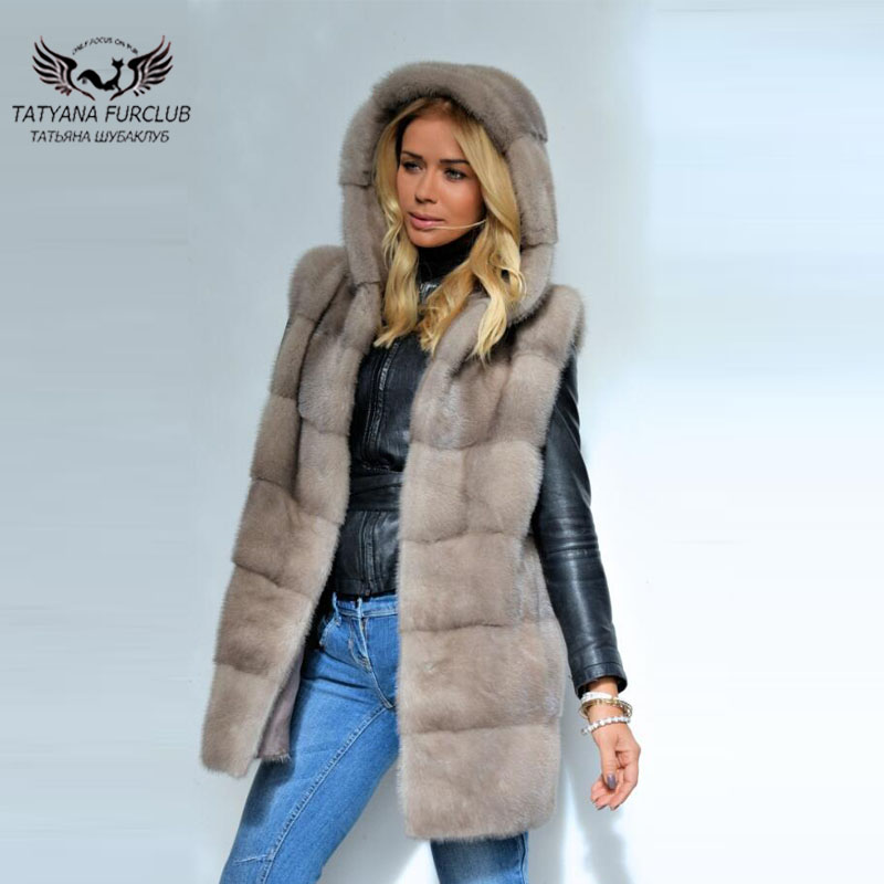 Tatyana Real Fur Jacket Sleeveless Coat Natural Mink Fur Coat Long Type With Hood Women Mink Fur Coats Fashion Winter Thick Mink
