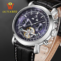 OUYAWEI Luxury Brand Wristwatch Leather Strap Automatic Mechanical Watches Fashion Business Men Watches Relogio Masculino Clocks
