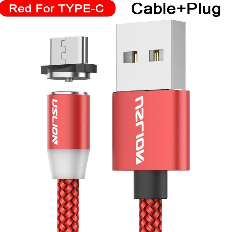 Магнитный usb-кабель USLION для быстрой зарядки, кабель USB type C, Магнитный зарядный кабель Micro usb для зарядки и передачи данных, кабель USB для мобильного телефона - Цвет: For Type C Red