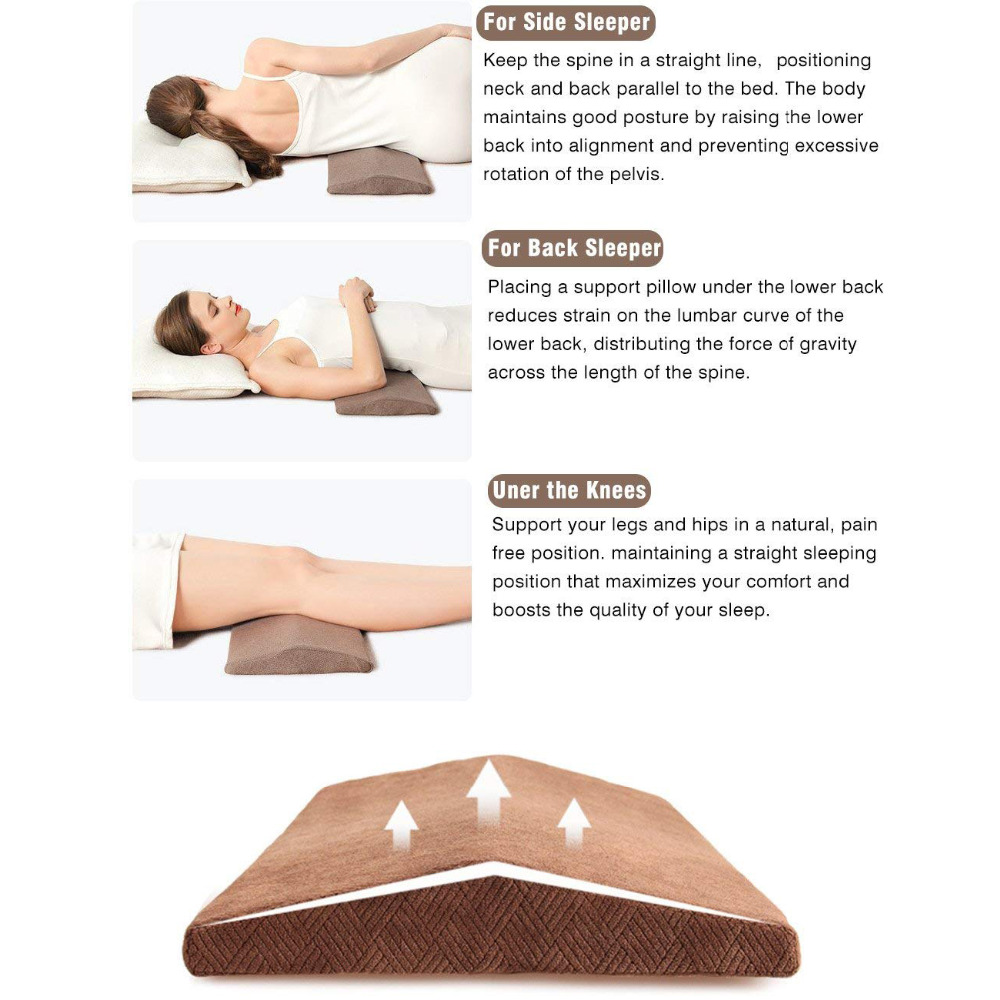 soft memory foam lumbar pillow for sleeping back pain lower back pain orthopedic bed cushion for back side sleepers leg knee