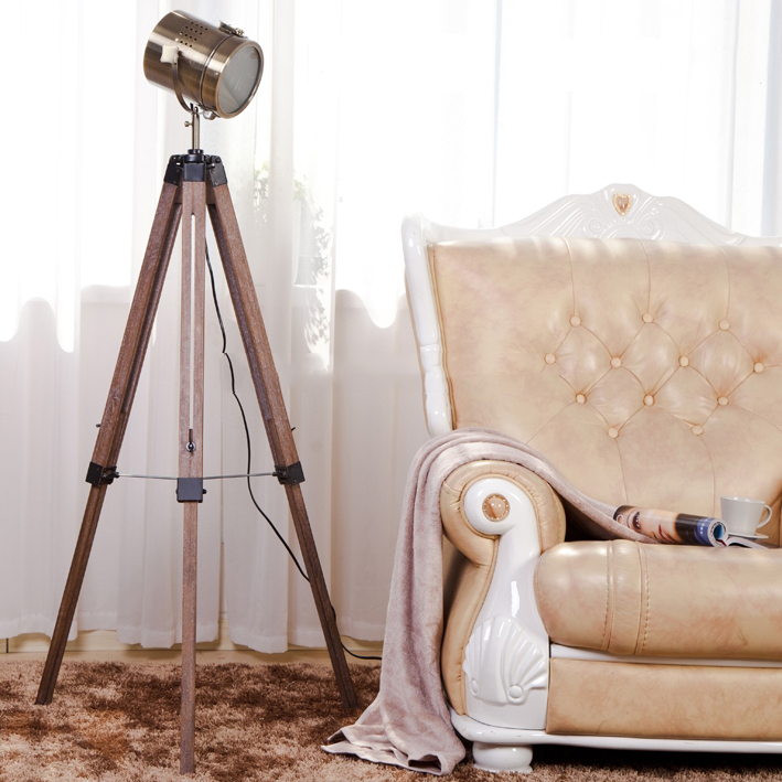 Classical Retro Floor Lamp Pairs Air Force Tripod Standard Vintage Table Light For Living Room With Wood Stand