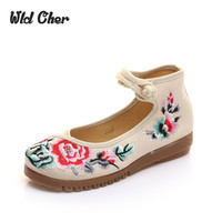 Plum Flower Canvas Flats Sandals S Size 34 41 Black Chinese Style National Comfortable Soft Sole