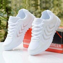 أحذية منصة النساء أحذية رياضية 2019 موضة الصلبة الأبيض أحذية رياضية النساء تنفس شبكة حذاء كاجوال امرأة تنيس feminino