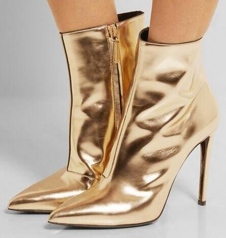 Fall Winter Silver Gold Mirrored-Leather Ankle Boots Pointed Toe High Heels Women Boots Metallic Leather Short Boots Free Ship frank buytendijk dealing with dilemmas where business analytics fall short