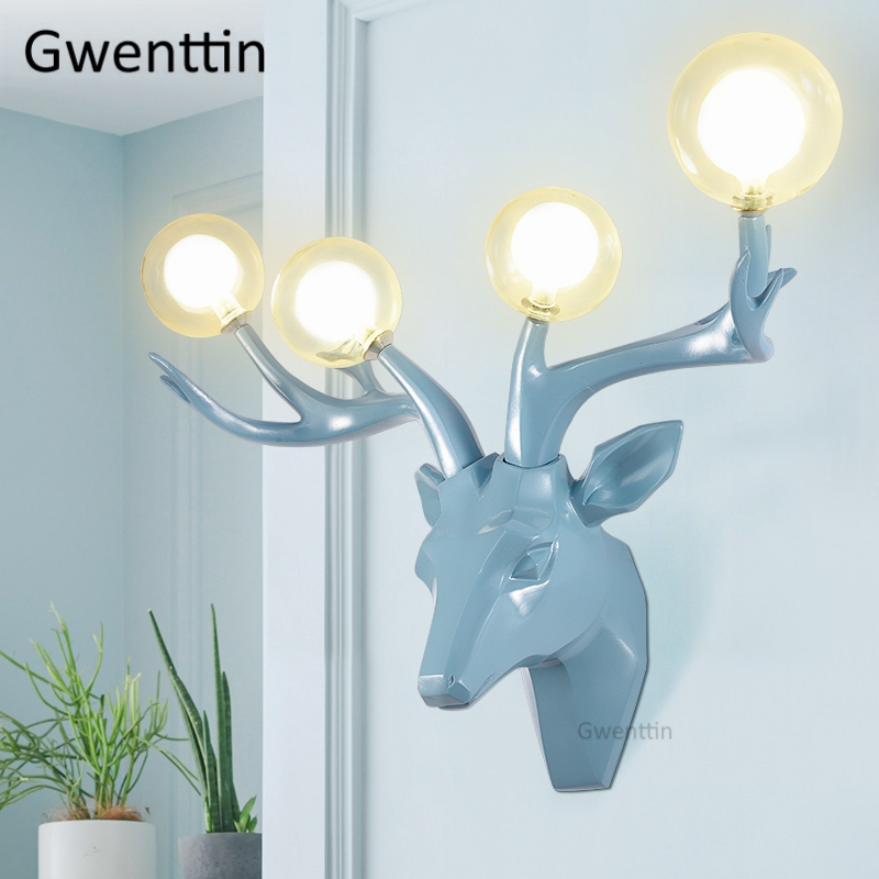 Modern Resin Antlers Wall Lamps Led Deer Sconce Glass Wall Lights for Home Decor Living Room