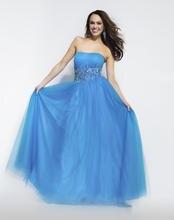 Pretty A-line Bodenlangen Blauen Tüll Abendkleid Lange Trägerlosen Abendkleid Formales Kleid Backless Vestido De Festa Kristalle F933