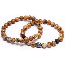 2016 Pierre Naturelle Bouddha Tête Charme Bracelets Avec Des Pierres Perles Bracelets Pour Femmes Hommes Or Turc Bijoux Pulseira Masculina