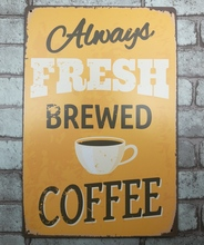 1 pc Fresh Brewed Coffee Shop Capuccino Latte Tin Plate Sign plate wall man cave Decoration Metal Art Dropshipping Poster metal