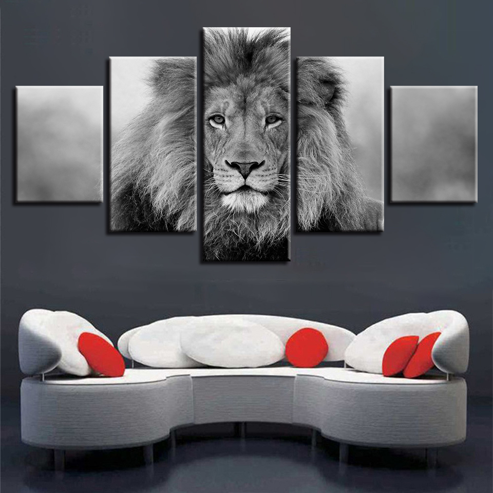 Canvas Pictures Modular Wall Art Framework 5 Pieces Animal Lion Painting Living Room HD Prints Black And White Poster Home Decor