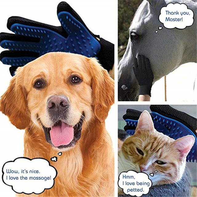 Dog Pet Grooming Glove Silicone Cats Brush Comb Deshedding Hair Gloves Dogs Bath Cleaning Supplies Animal Combs by PROSTORMER 2