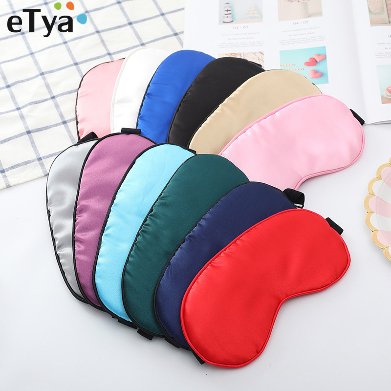 ETya Women Men Soft Sleeping Mask Eyeshade Eye Cover Travel Solid Eyelashes Blindfold Travel Accessories