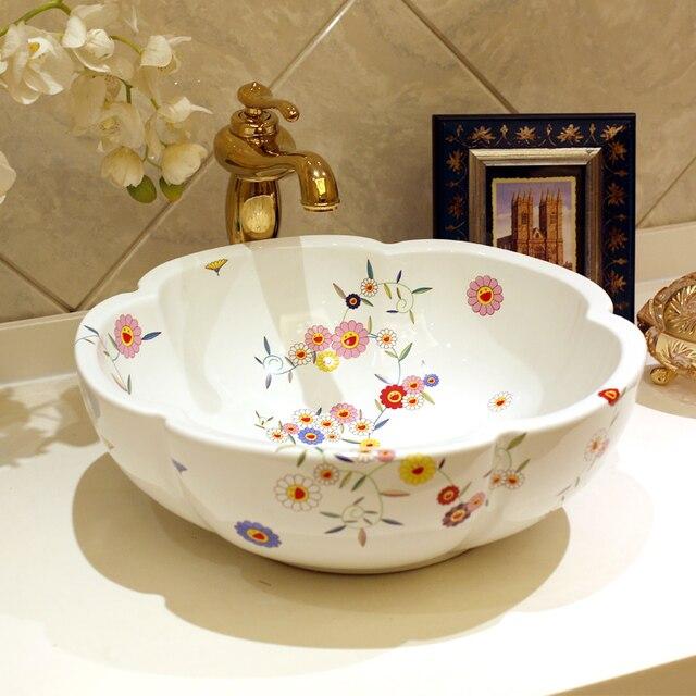 Europe Style Handmade Flower Shape Ceramic Sink Countertop Ceramic Basin  Sinks Bathroom Sink Washing Basin Pottery