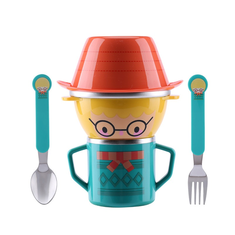 Cartoon Child Plate Tableware Dishware Dinnerware Set Infant Food  Bowl Cup Feeding Dinner Fork  Spoon for Children Kids Bowl new children tableware bpa free plastic baby food set kids dinnerware plate bowl cup fork spoon infant dishes for toddlers baby