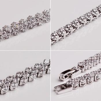 Women Silver Rose Gold Bracelet for Female Crystal Heart Charm Bracelet Women Bridal Wedding Fine Jewelry Gift 2