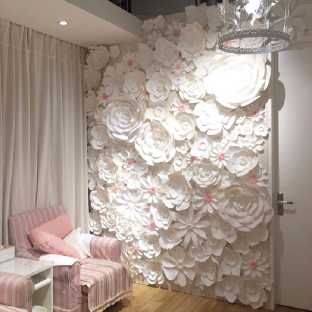 84pcs set large full wall giant paper flowers wedding backdrop