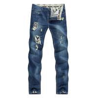 2017 Schedel Karakter Designer Jeans Mannen Tapered Slanke Europa Amerikaanse Stijl Blauw Potloden Retro Grijs Vintage Ripped Gebroken Broek