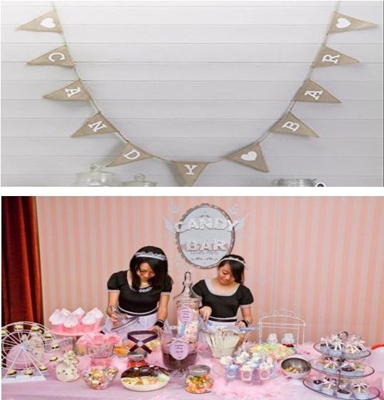 Jute Handmade Candy Bar Wedding Decorcasamento Decoration Birthday