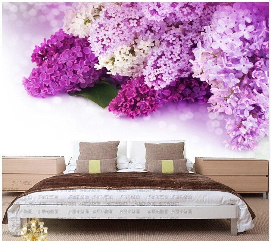 bedroom purple lavender living natural landscape mural sofa background custom wallpapers wall lilac