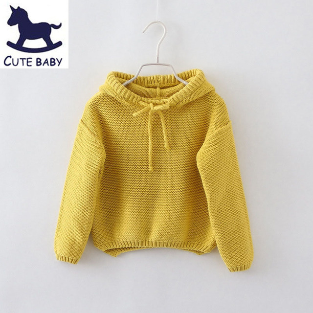 New 2015 Girls Sweaters Children's Hooded pullover sweater Boys pullover baby girls Autumn&winter clothes Kids coat for 2-8Ages