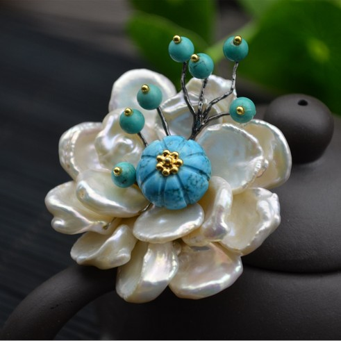 Amxiu Customized Natural Shaped Pearls Brooch Pins Dual-use Women Necklace Pendant Beeswax Turquoise Jewelry Flower Accessories amxiu customized natural shaped pearls brooch pins dual use women necklace pendant beeswax turquoise jewelry flower accessories