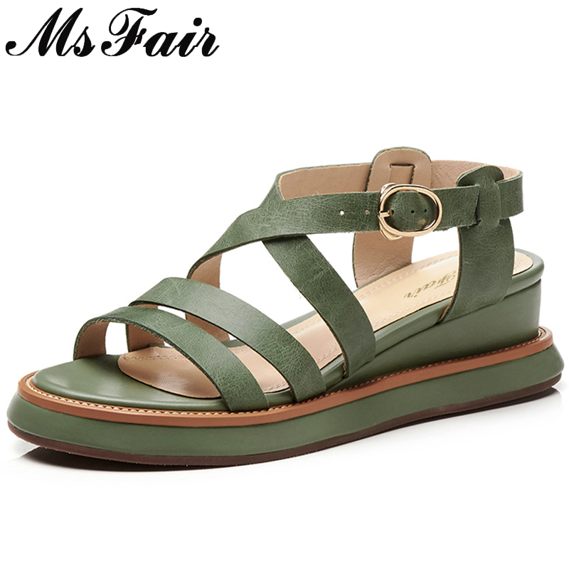 цена на MsFair Thick Bottom Wedges Women Sandals Fashion Metal Buckle Platform Flat Woman Sandals 2018 Summer Women Gladiator Sandals