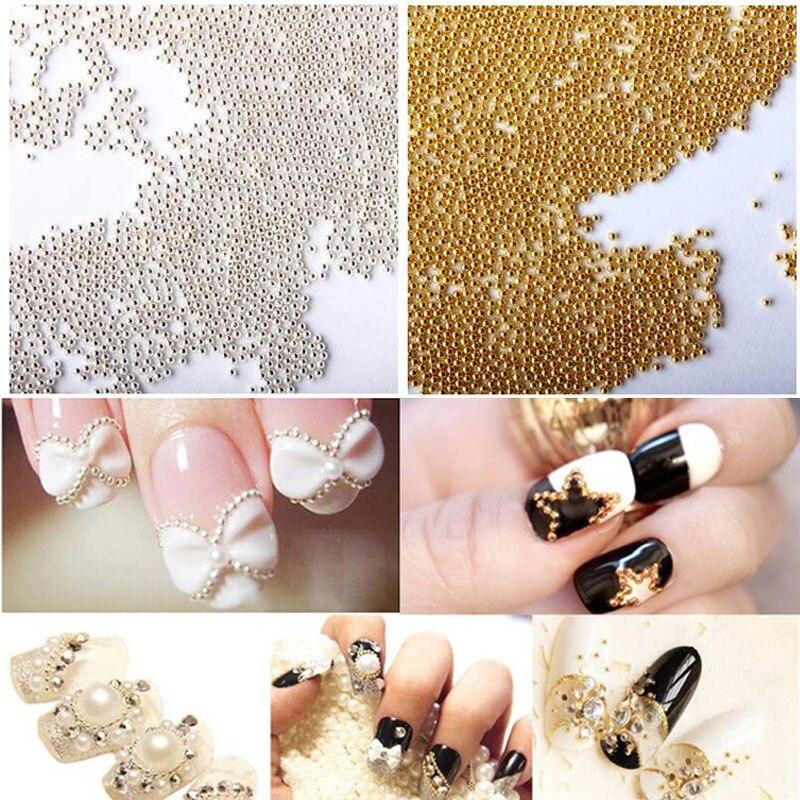 1MM Steel Ball Metal Silver Gold Caviar Beads Mini Nail s