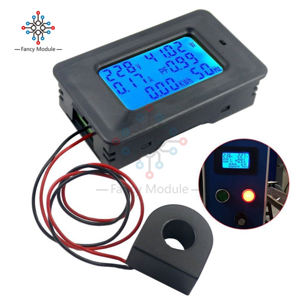 6 IN 1 LCD Digital AC 20A 100A 110V 220V Voltage Energy Meter Voltmeter Ammeter Power Current Panel Watt Combo Indicator