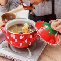 2.2L Eanmel Cooking Pot Japan High Quality strawberry Thickening Enamel Hot Pot 18cm Soup Pot Induction Cooker Gas General