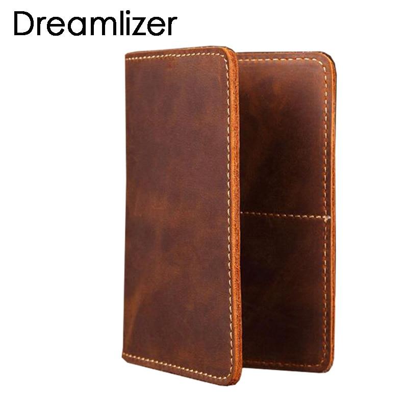 New 2019 Genuine Leather  Passport Wallet Vintage Cow Leather Passport Cover Unisex Wallet Credit Card Holder Travel Wallet