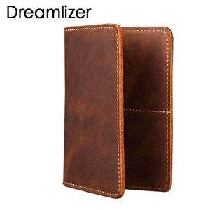 New 2019 Genuine Leather Passport wallet Vintage Cow Leather Passport cover Unisex Wallet Credit Card Holder Travel Wallet(China)