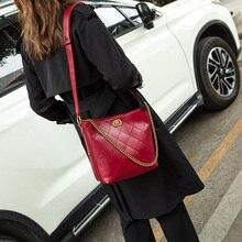 Fashion Bucket Bag Plaid PU Leather Crossbody Bags For Women Luxury Handbags Designer Chain Shoulder
