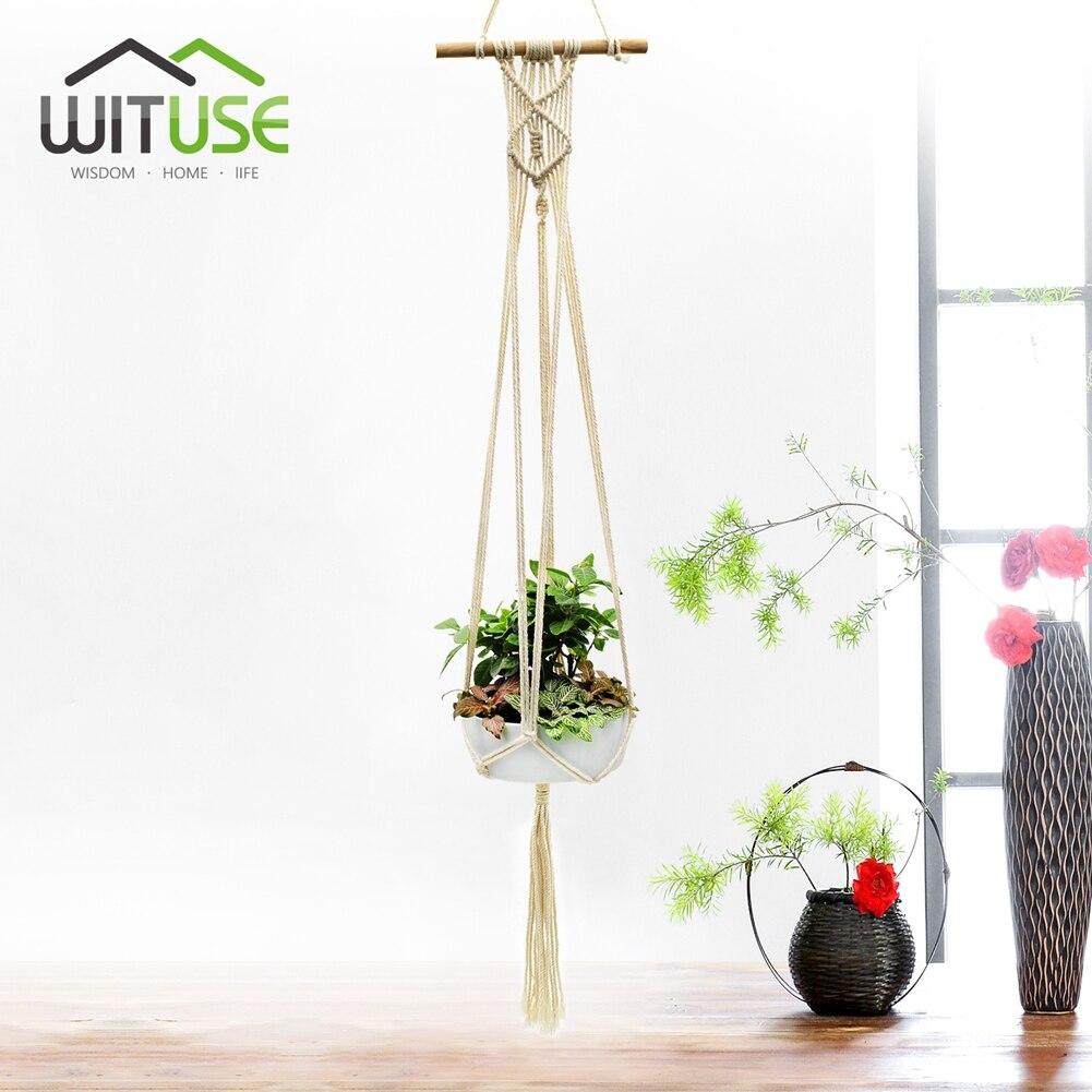 Macrame Plant Hanger Wall Art Indoor Elegant Tel Rope Window Patio Decor Hook Pot Holder Pure Cotton Wood 5legs On Aliexpress Alibaba Group