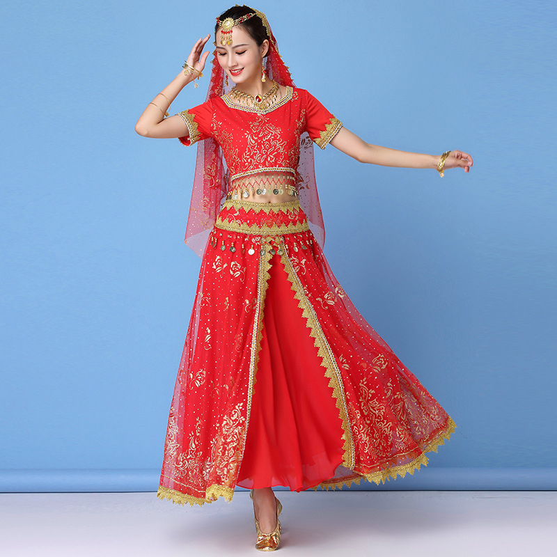 Belly Dance Costume Set Bollywood Dance Costumes Women Clothes 2019 Bellydance Skirt Suit 5pcs Headpieces Veil Top Belt Skirt in Belly Dancing from Novelty Special Use