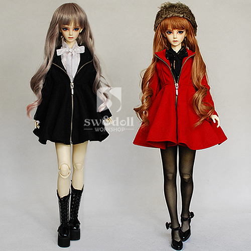 цены Free Shipping,1/3 Bjd clothes Zipper dress coat red/black