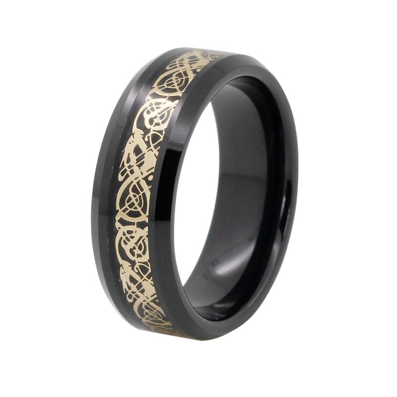 Very popular gold dragon inlay tungsten black ring mens wedding band black tungsten carbide with dark wood inlay mens wedding ring