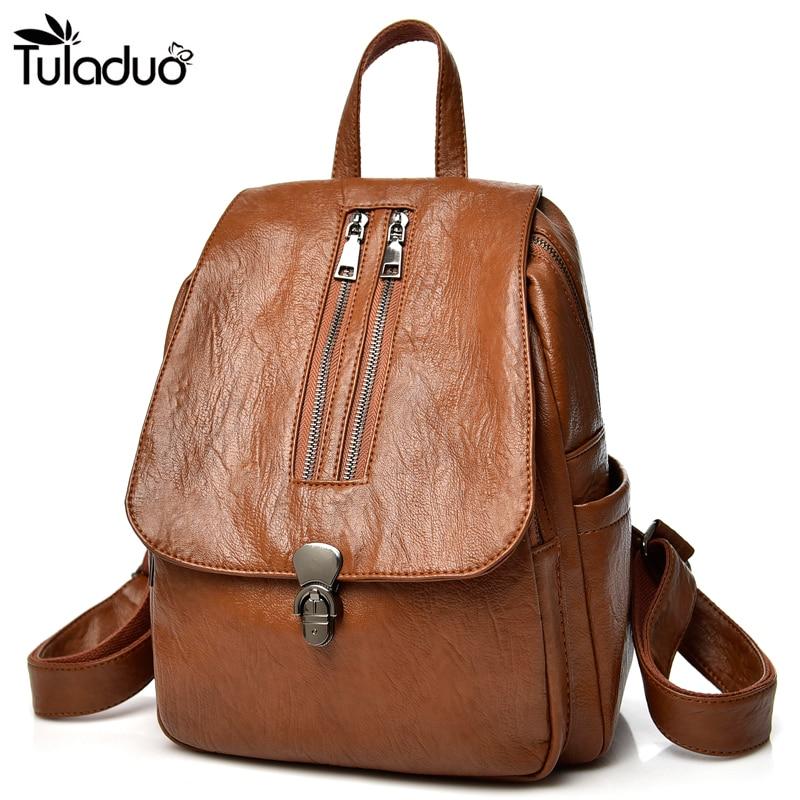 2018 New Fashion Women Leather Backpack Multifunction Designer Softback Backpacks Female Bookbags For Teenage Girls Rivet Bag