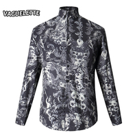 Unique Damascus Floral Shirt Men Printed Pattern Long Sleeve Men Fashion Shirt Skinny Luxury Stage Clothes