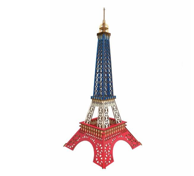 Моделирование три цвета Эйфелева башня здание модель Diy ручной работы деревянные пазлы 3d Трехмерная Деревянный головоломки